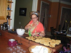 Pizzelle assembly line.