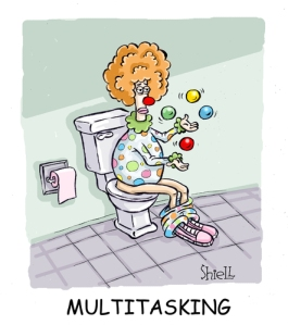 multitasking clown